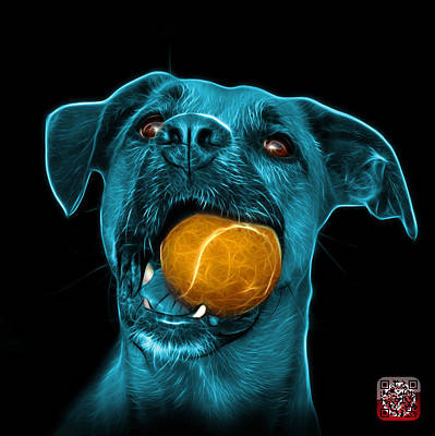 Digital Art - Cyan Boxer Mix Dog Art - 8173 - Bb by James Ahn