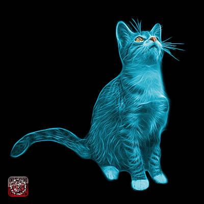Painting - Cyan Cat Art - 3771 Bb by James Ahn