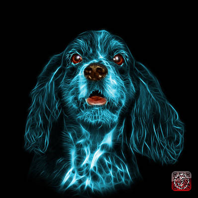 Mixed Media - Cyan Cocker Spaniel Pop Art - 8249 - Bb by James Ahn