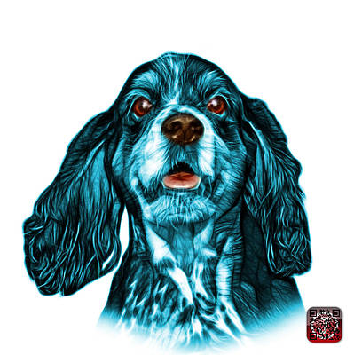 Mixed Media - Cyan Cocker Spaniel Pop Art - 8249 - Wb by James Ahn