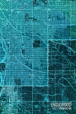 Old Map Digital Art - Cyan Englewood 1940 Abstract by Pablo Franchi
