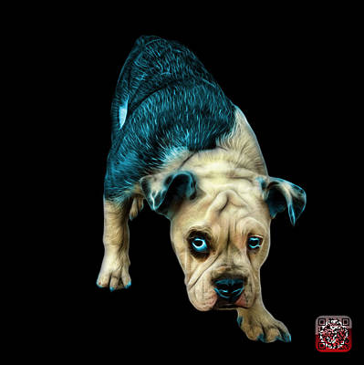 Painting - Cyan English Bulldog Dog Art - 1368 - Bb by James Ahn
