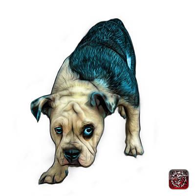 Painting - Cyan English Bulldog Dog Art - 1368 - Wb by James Ahn