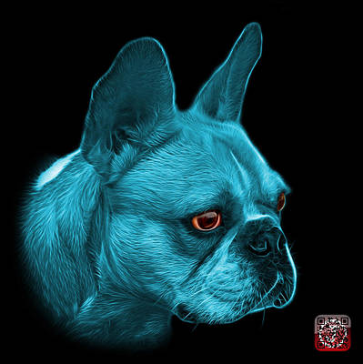 Painting - Cyan French Bulldog Pop Art - 0755 Bb by James Ahn