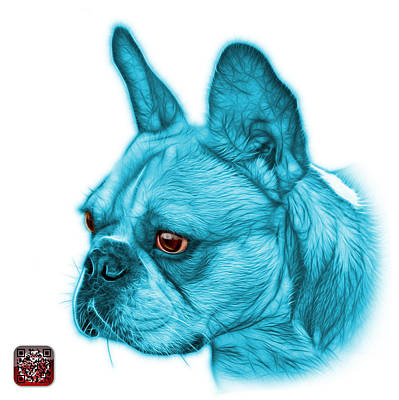 Cyan French Bulldog Pop Art - 0755 Wb Art Print