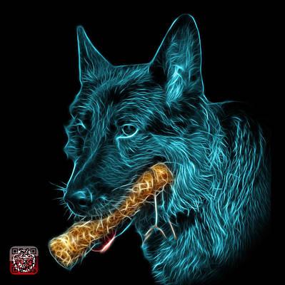 Digital Art - Cyan German Shepherd And Toy - 0745 F by James Ahn