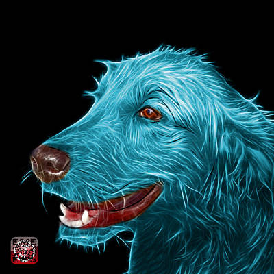 Painting - Cyan Golden Retriever Dog Art- 5421 - Bb by James Ahn