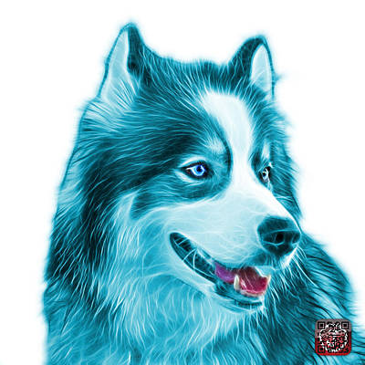 Painting - Cyan Modern Siberian Husky Dog Art - 6024 - Wb by James Ahn