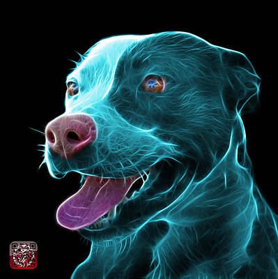 Mixed Media - Cyan Pit Bull Fractal Pop Art - 7773 - F - Bb by James Ahn