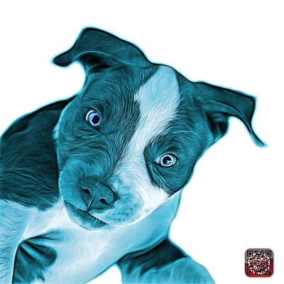 Painting - Cyan Pitbull Dog Art 7435 - Wb by James Ahn