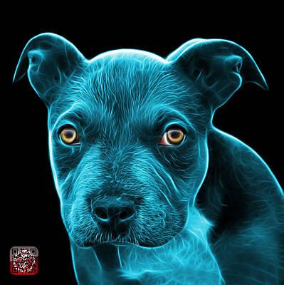 Painting - Cyan Pitbull Puppy Pop Art - 7085 Bb by James Ahn