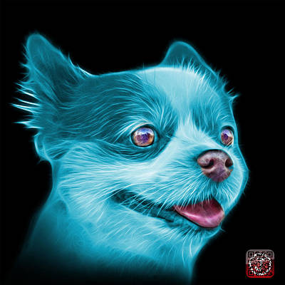 Painting - Cyan Pomeranian Dog Art 4584 - Bb by James Ahn