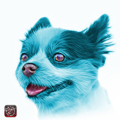 Painting - Cyan Pomeranian Dog Art 4584 - Wb by James Ahn