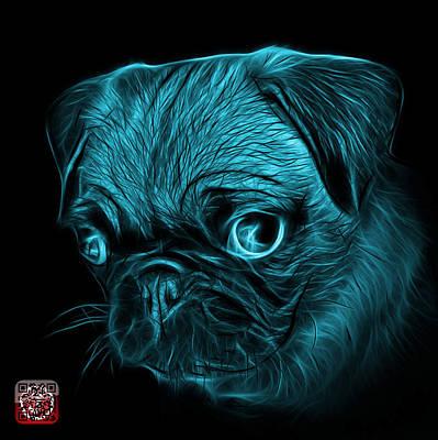 Digital Art - Cyan Pug -  9567 Fs B by James Ahn