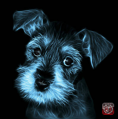 Digital Art - Cyan Salt And Pepper Schnauzer Puppy 7206 F by James Ahn