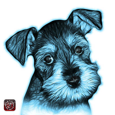 Digital Art - Cyan Salt And Pepper Schnauzer Puppy 7206 Fs by James Ahn