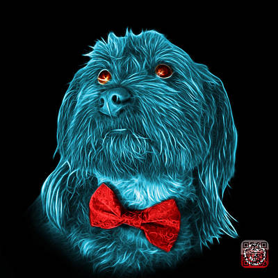 Painting - Cyan Schnoodle Pop Art 3687 - Bb by James Ahn