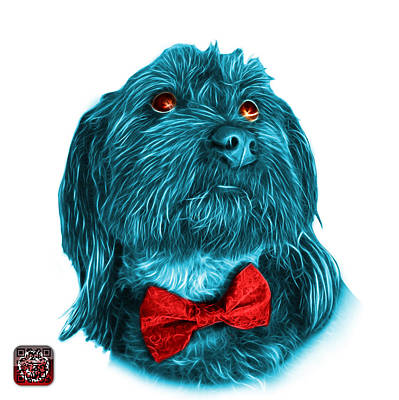 Painting - Cyan Schnoodle Pop Art - 3687 by James Ahn