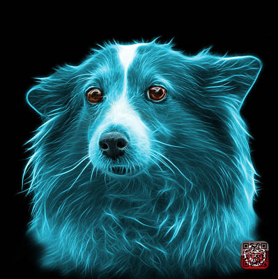 Mixed Media - Cyan Shetland Sheepdog Dog Art 9973 - Bb by James Ahn