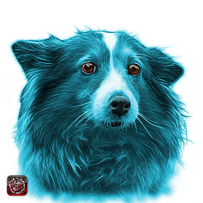 Mixed Media - Cyan Shetland Sheepdog Dog Art 9973 - Wb by James Ahn