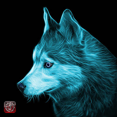 Painting - Cyan Siberian Husky Art - 6048 - Bb by James Ahn