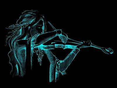 David Drawing - Cyan Violinist  by Movie Poster Prints