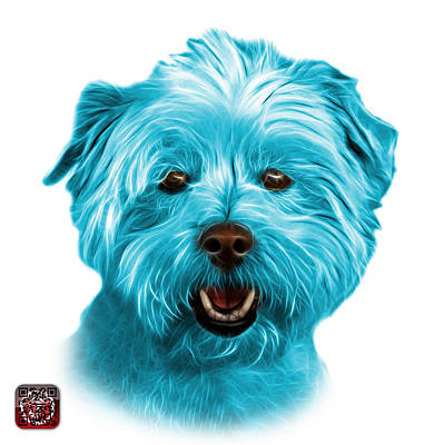 Mixed Media - Cyan West Highland Terrier Mix - 8674 - Wb by James Ahn