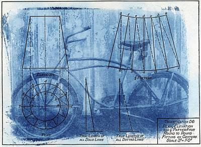 Bicycle Photograph - Cyanotype Anatomy Of A Bike Blue Print Blueprint Sunprint Sun Print by Jane Linders