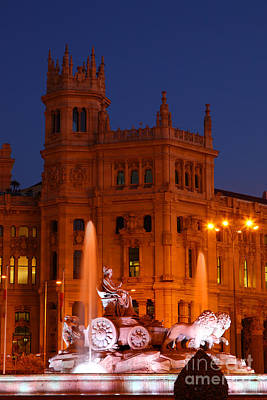Cybele Fountain At Blue Hour Madrid Art Print