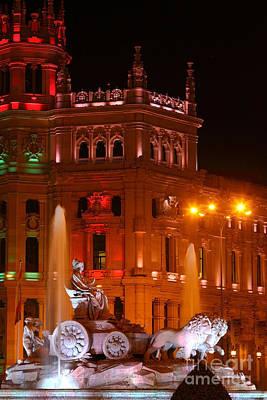 Cybele Fountain At Night Madrid Art Print