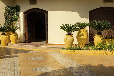 Photograph - Cyber Yellow Mediterranean Courtyard With Amphoras And Palms by Georgia Mizuleva