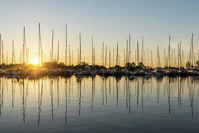 Photograph - Cyber Yellow Sunrise With Yachts by Georgia Mizuleva
