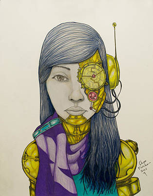 Science Fiction Drawing - Cyborg by Chase Fleischman