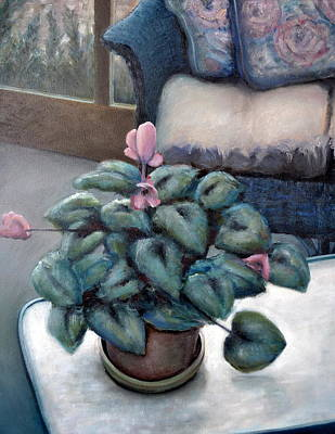 Cyclamen And Wicker Art Print by Michelle Calkins