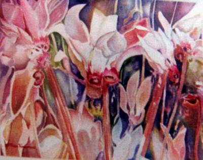 Painting - Cyclamens Of Lebanon by Therese AbouNader