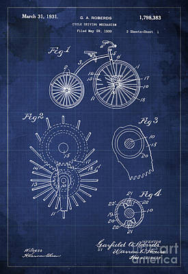 Cycle Driving Mechanism Patent Blueprint Year 1930 Blue Background Art Print
