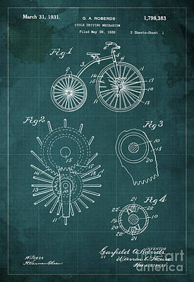 Cycle Driving Mechanism Patent Blueprint Year 1930 Green Background Art Print