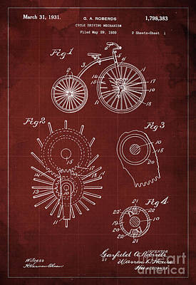 Mechanism Drawing - Cycle Driving Mechanism Patent Blueprint Year 1930, Red Background by Pablo Franchi