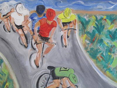 Painting - Cycling By The Ocean by Debby Reid
