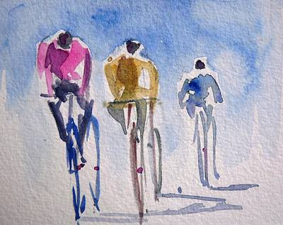 Cycles Painting - Cycling Figures by Siby Chacko