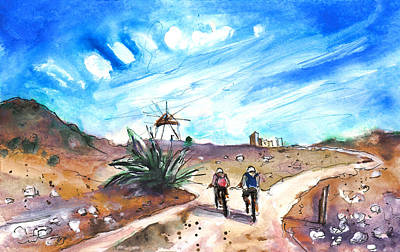 Painting - Cycling In Cabo De Gata by Miki De Goodaboom