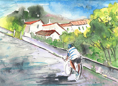 Cycling Drawing - Cycling In Italy 01 by Miki De Goodaboom