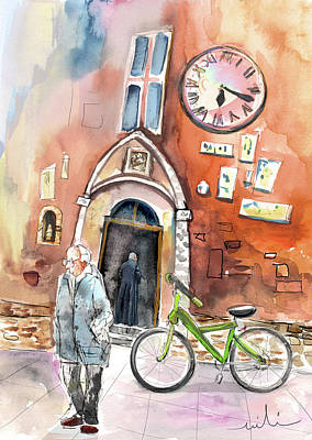 Cycling Drawing - Cycling In Italy 03 by Miki De Goodaboom
