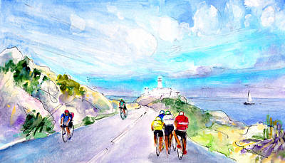 Sports Sketching Drawing - Cycling In Majorca 02 by Miki De Goodaboom