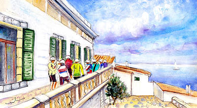 Sports Sketching Drawing - Cycling In Majorca 04 by Miki De Goodaboom