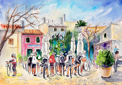 Sports Sketching Drawing - Cycling In Majorca 05 by Miki De Goodaboom