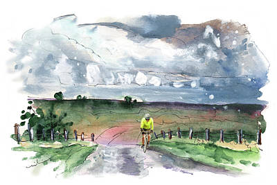 Painting - Cycling On The North Yorkshire Moors by Miki De Goodaboom