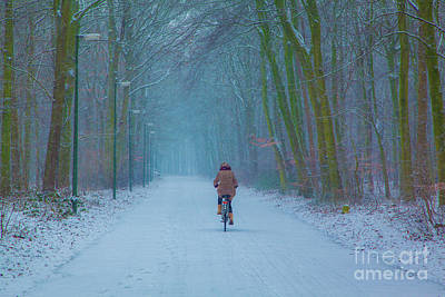 Photograph - Cycling In The Snow by Casper Cammeraat