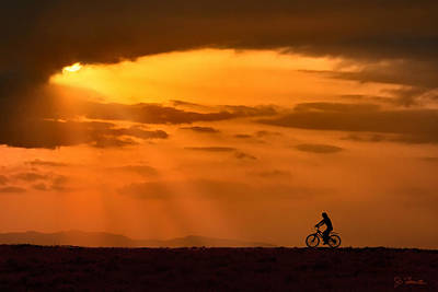 Photograph - Cycling Into Sunrays by Joe Bonita