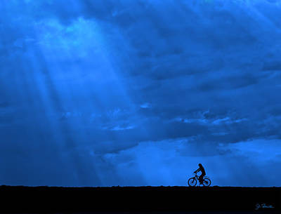 Photograph - Cycling Into Sunrays No. 2 by Joe Bonita
